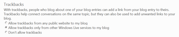 Allow trackbacks only from other Windows Live services to my blog